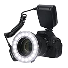 Timack RF-600D 18 Macro LED Ring Flash Bundle with LCD Display Power Control, Ring Light Includes 4 Diffusers and 8 Adapter Rings for Canon, Nikon, Panasonic, Olympus, Pentax SLR Camera