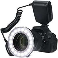 Timack RF-600D 18 Macro LED Ring Flash Bundle with LCD Display Power Control, Ring Light Includes 4 Diffusers and 8 Adapter Rings for Canon, Nikon, Olympus, Pentax SLR Camera (Macro Ring Light)