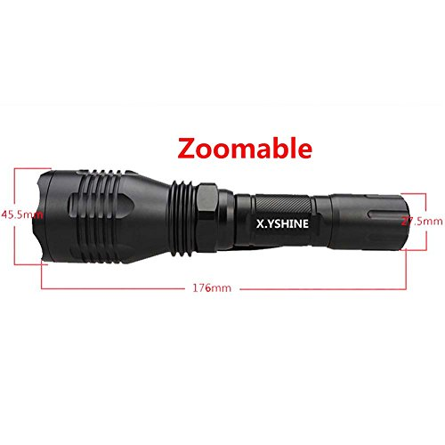 X.YSHINE Tactical Hunting Flashlight of Cree Q5 Red Light Coyote Hog with Remote Pressure Switch+ Barrel Mount+ 18650 Rechargeable Battery+ Charger Perfect for Hunting & Fishing