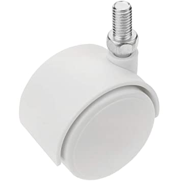 PrimeMatik - Rueda pivotante de nailon sin freno 40 mm M8 blanca 4 pack: Amazon.es: Electrónica