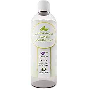 Witch Hazel Toner - Alcohol Free Astringent with Pure Lavender Essential Oil & Aloe Vera for Oily & Dry and Mature Skin - Cleanse and Refresh Skin for Men & Women - Made In the USA - Paraben Free