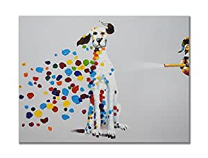 SEVEN WALL ARTS - 100% Hand Painted Oil Painting Animal Mischievous Dog Blowing Bubbles Funny Artwork for Home Decor 24x36 Inch