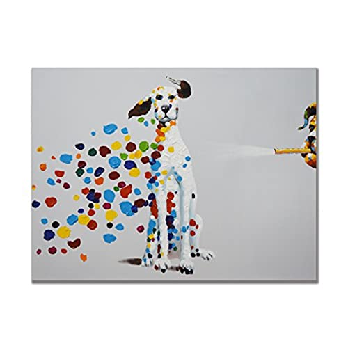 SEVEN WALL ARTS   100% Hand Painted Oil Painting Animal Mischievous Dog  Blowing Bubbles Funny Artwork For Home Decor 24x36 Inch