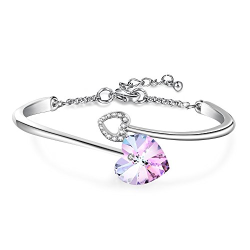 Tonny Rank #322 ,  Angelady Love Story Heart Link Bangle Bracelet