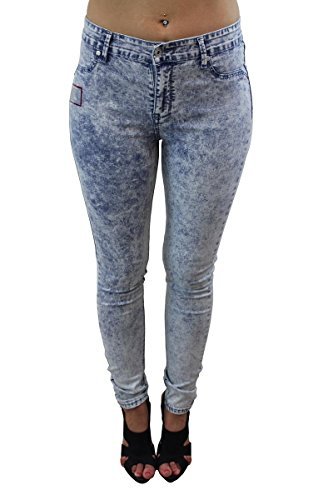 Celeb Look Hellblau Denim Acid Wash Stich Down Tasche Röhrenjeans