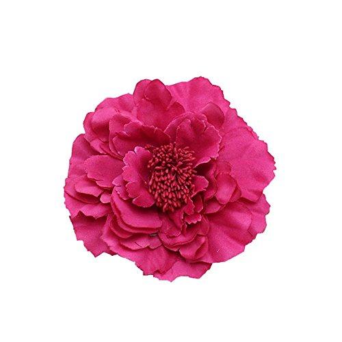Kewl Fashion Women's Bohemia Peony Flowers Hairpin Hair Clip Flower Brooch (Fuchsia #1)