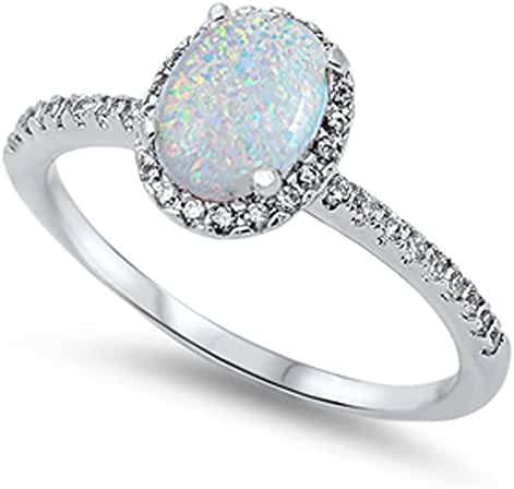 Oval Lab Created White Opal Halo Cz .925 Sterling Silver Ring Sizes 4-12