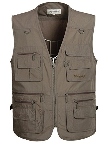 Flygo Men's Summer Casual Outdoor Utility 16 Pockets Journalist Fishing Photo Travel Vest Plus Size (X-Large, Grey) by Flygo