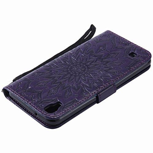 Yiizy LG X Power / K220DS / K220 / US610 / K450 Custodia Cover, Sole Petali Design Sottile Flip Portafoglio PU Pelle Cuoio Copertura Shell Case Slot Schede Cavalletto Stile Libro Bumper Protettivo Bor
