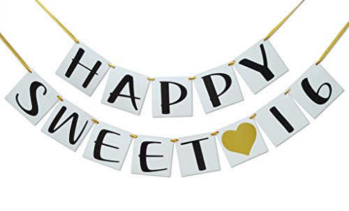 Sweet 16 Birthday Banner - Gold Hearts and Ribbon - Sweet Sixteen Decoration ()