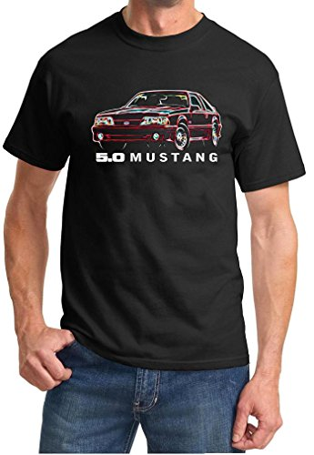 1987-93 Ford Mustang GT 5.0 Hatchback Neon Lights Design TshirtXL Black