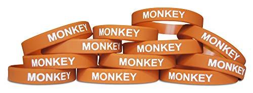 Monkey Band - Novel Merk Monkey Brown Safari Animal Kids Party Favor & School Carnival Prize Silicone Rubber Band Wristband Bracelet (12 pieces)