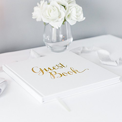 Blank Wedding Guest Book Guestbook White Paper with No Lines - Gold Foil Stamping and 180GSM Paper 32 Pages 64 Sides Square