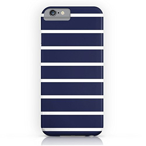 White Stripes Protector Case - Phone Case Protective Durable Design Cell Case Navy White Stripe Pattern Compatible Slim Case for iPhone 8 with Tempered Glass Screen Protector