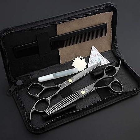XLDN-Hair Cutting Scissors Tijeras de Adelgazamiento de Corte de peluquería de Japón, Color Negro, Tijeras de peluquería con Estuche Tijeras de Corte de Pelo (UnitCount : One Set): Amazon.es: Hogar