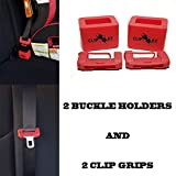 Clip-EZ 2 Car Seat Belt Buckle Holder + 2 Clip Grips Soft Silicon-Easy Installation-Holds Seatbelt Buckle in Upright Position-Makes Buckling/Releasing Fast and Easy for Kids, Adults & The Elderly