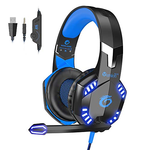 VersionTECH. [2019 Updated] Gaming Headset, Noise Cancelling Over-Ear Headphones with 50mm Drive Unit, Adjustable Mic, LED Lights for Laptop, Desktop Computer, Mac, PC, Xbox One PS4 Controller