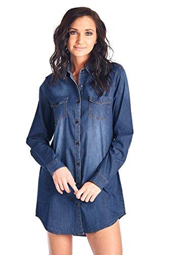 Dress Chambray Denim - BLUE AGE Womens Chambray Denim Dress Shirt, Dark Wash, XL