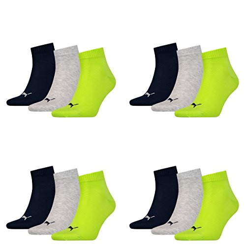 12 pair Puma Sneaker Quarter Socks Unisex Mens & Ladies 064 - lime punch