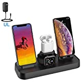 4 in 1 Wireless Charging Station for iPhone Apple Watch Charger Stand with iPhone Wireless Charger Stand Airpods Charging Dock Stand for iPhone X/XS/XR/8/7/6s/Plus, iWatch 4/3/2/1(Upgrade