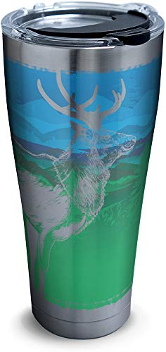 Tervis 1306205 Elk Outdoor Scene Insulated Tumbler with Clear and Black Hammer Lid, 30 oz Stainless Steel, - Elk Majestic
