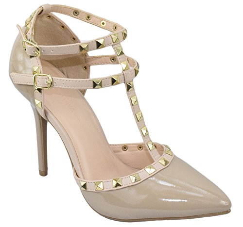 Wild Diva Women Stiletto Heels Pointy Toe Studded Pumps Strap ADORA-64 Beige Nude Pat - High Pointy Heel Shoes