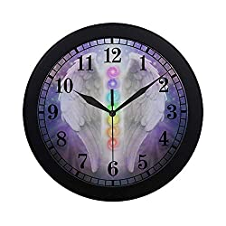 InterestPrint Angel Wings Chakras Darkness and Light Round Quartz Wall Clock Large Number Clock for Office School Kitchen Bedroom Living Room Decor, Black