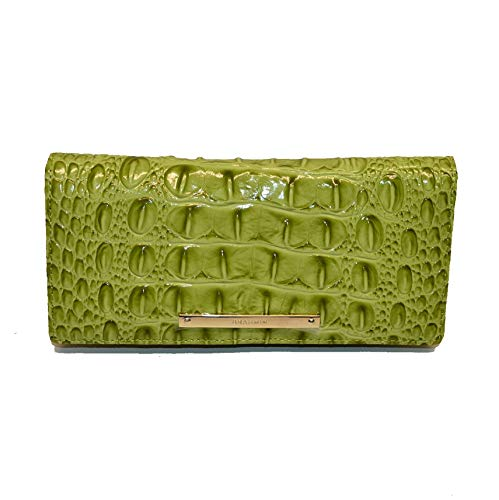 Brahmin Ady Slim Croco emb Leather wallet clutch Avacado