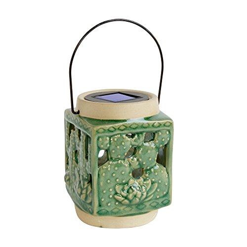 "6"" Cutout Cactus Led Solar Ceramic Lantern by SunRays"