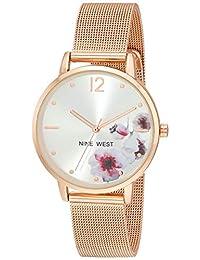 Nine West - Reloj de pulsera de malla para mujer, NW/2504FLRG, Rose gold