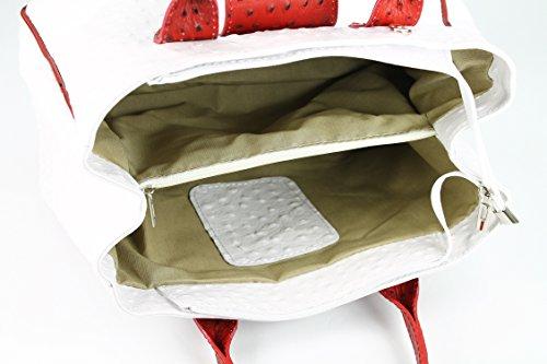 Belli - Bolso de asas de cuero para mujer blanco blanco