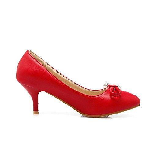 AllhqFashion Damen Ziehen auf Mittler Absatz PU Leder Rein Rund Zehe Pumps Schuhe Rot