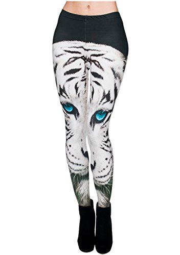 (Ayliss Women Leggings Digital Print Yoga Skinny Pants High Waist Gym Elastic Tights,White Tiger,XS-M)