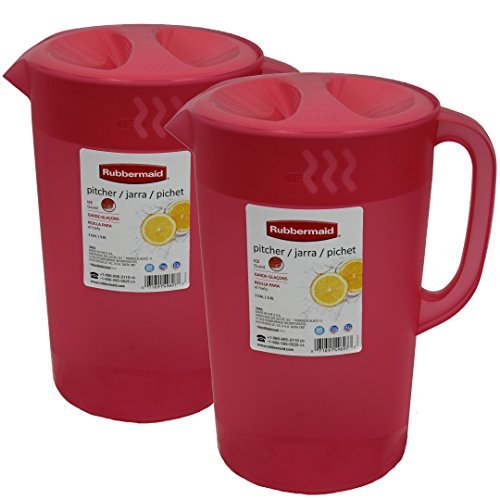 Rubbermaid 1 Gallon Classic Pitcher, Pack of 2 Red Pitchers by Rubermaid
