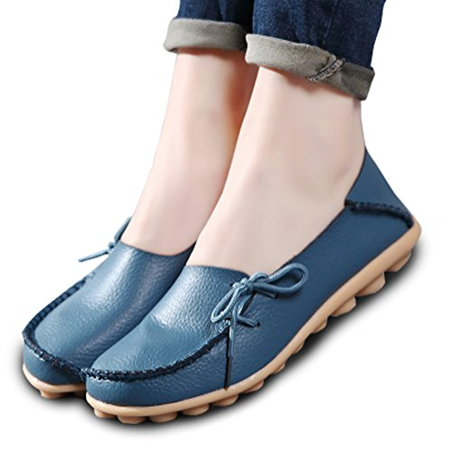Comfort Blue Loafers Driving Leather Walking Soft Harence Women's Shoes Slip On Flats PEwnTpfq