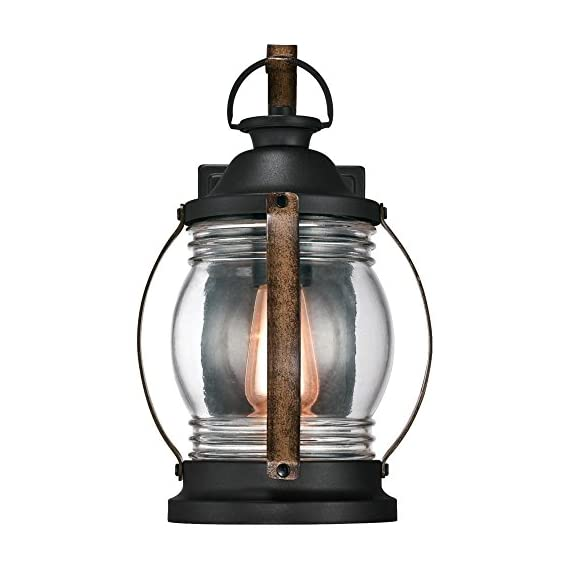 Westinghouse Lighting 6335100 Canyon One-Light Outdoor Wall Fixture, Textured Black and Barnwood Finish with Clear Glass - One-light fixture is perfect for use in front or back entryways or on a porch Outdoor rated fixture, textured black and barnwood finish with clear hand blown glass shade Use one 60 watt maximum medium-base light bulb - patio, outdoor-lights, outdoor-decor - 411jzgoJQsL. SS570  -