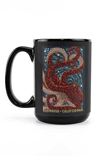 Cambria, California - Octopus Mosaic (15oz Black Ceramic Mug - Dishwasher and Microwave Safe)