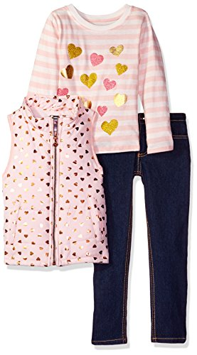 Kensie Little Girls' Toddler Puffer Vest, Long Sleeve T-Shirt and Stretch Denim Jean, Blushing Pink, 4T Jean 2t 4t Sets