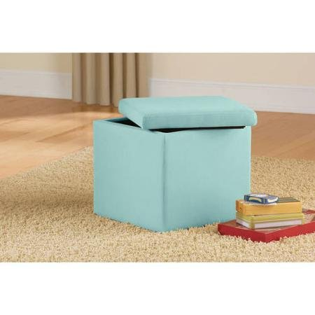 Multi-functional Design Aqua Faux Suede Ultra Storage Ottoman, Is a Comfortable Footrest, Spare Seat and Convenient End Table with Removable Top for Storage