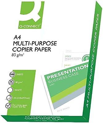 Q Connect KF01087 - Papel para impresora de tinta A4, Blanco, Paquete de 1 x 500 hojas: Amazon.es: Oficina y papelería