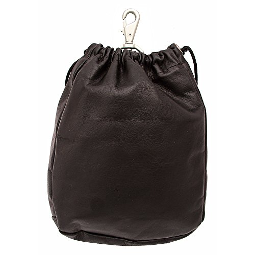 Piel Leather Large Drawstring Pouch, Chocolate, One - Leather Drawstring Large