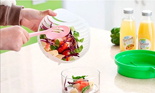 Salad Cutter Bowl + FREE 3 in 1 Avocado Peeler Tool  Fruit & Vegetable Quick Chopper Set, Veggie Slicer   Can Be used as Strainer and Cutting Board   Dishwasher Safe, BPA Free, Food Grade Material by toshi's kitchen (Image #5)