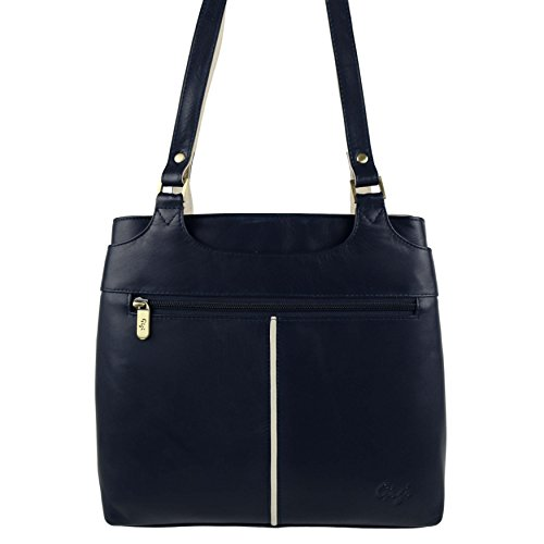 In pelle morbida da donna, due tonalità, Borsa a spalla, GiGi; Othello Collection-Borsa Multicolore (Navy/Ivory)