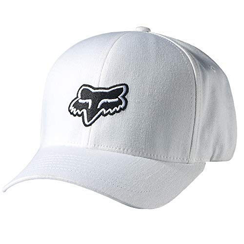 Fox Men's Flex Fit Legacy Logo Hat, White, - Fit White Hat Flex