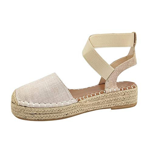 Womens Espadrille Platform Wedge Sandals Strappy Closed Toe Mid Heel Pumps Flats Dress Shoes Size 5-9 (US:9, Beige)