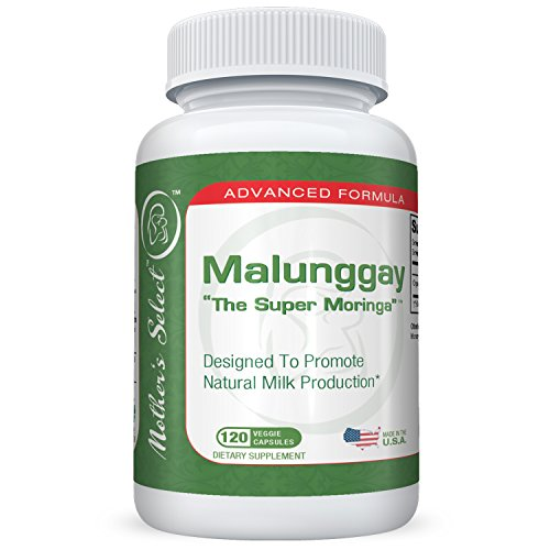 Malunggay by Mother's Select, 120 Veggie Capsules, 100% Organic Moringa Powder Herb, Formulated for Breast Feeding Mothers, Nursing Supplement Supports Lactation, 350 mg per Capsule
