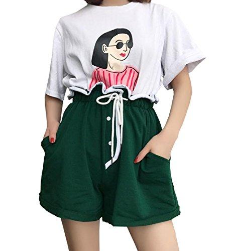 よろしく適格店主DuWei (ドゥウェイ) レディース スポーツ ショートパンツ 夏服 短パン ワイドパンツ ゆったりしたズボンの高い腰のホットパンツ ショートパンツ
