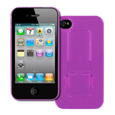 EMPIRE Apple iPhone 4 / 4S Hot Pink Rosa Kickstand Design Harte Case Tasche Hülle Cover + Displayschutzfolie Film