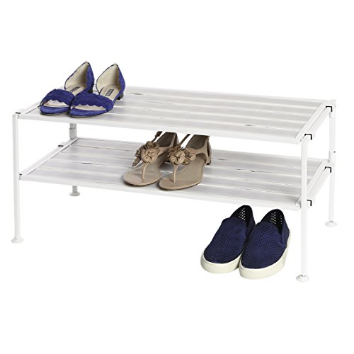 Seville Classics 2-Tier Resin Slat Utility Shoe Rack, White (Two Shelves Slat)