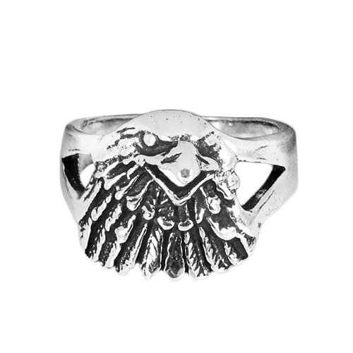 Solid .925 Sterling Oxidized Silver Eagle Ring Size 7.75, 8.75 (Oxidized Eagle)